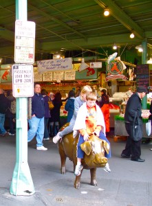 Children on Rachel the Pig at Seattle's Pike Place Market