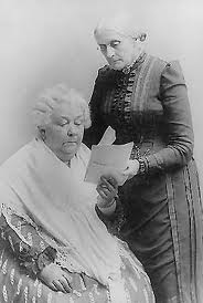 Elizabeth Cady Stanton (sitting) and Susan B. Anthony