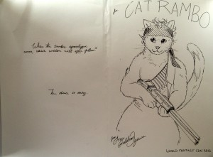 Cartoon of a cat holding a rifle.