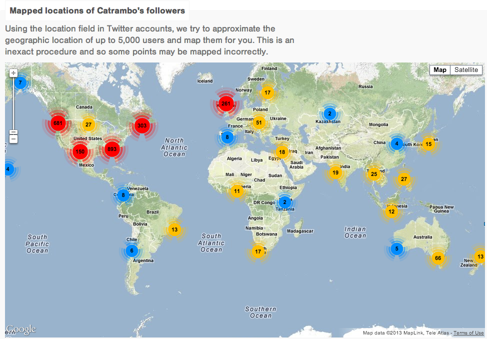 Geographical map showing the Twitter followers for Cat Rambo