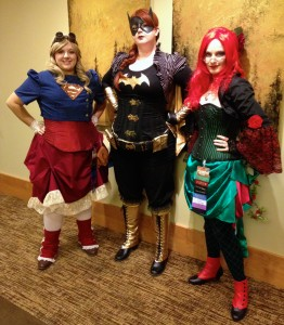 Steampunk Superwoman, Batwoman, and Poison Ivy. Taken at Steamcon.