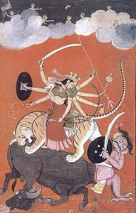 Picture of the Hindu warrior Goddess Durga killing Mahishasura