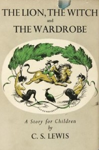 Cover for The Lion The Witch and The Wardrobe by C.S. Lewis, 1st edition.
