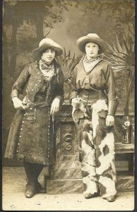 Historical photograph of young women dressed as cowgirls