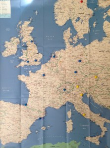 Map of Europe with push-pins in preparation for travel planning. Accompanies blog post by speculative fiction writer Cat Rambo.