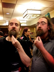 Wayne and Scott Andrews comparing beards