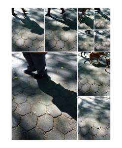 Collage of shadows on pavement.