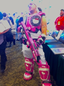 photo of a man in hello kitty armor