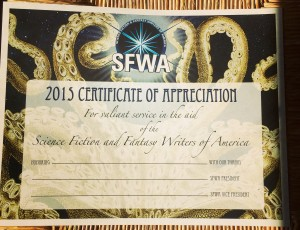 The 2015 SFWA Volunteer Appreciation certificate, created by Heather McDougal.