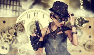 picture of steampunk woman against a clock