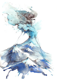 mountains in the form of evening dress