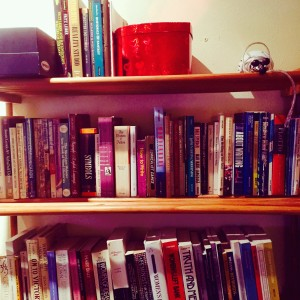 Image of bookshelves filled with books about writing