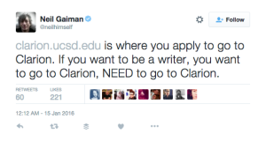 a tweet by Nail Gaiman