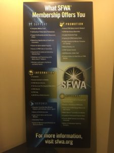 picture of SFWA banner detailing membership benefits