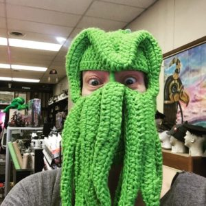 Picture of Cat Rambo in a Cthulhu ski mask.