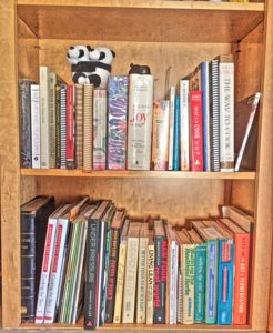 picture of two shelves of cookbooks