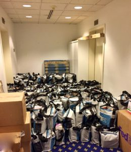 Swag bags assembled and awaiting distribution.