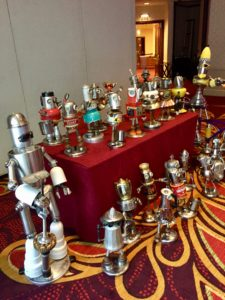 Robots awaiting distribution to the banquet tables.