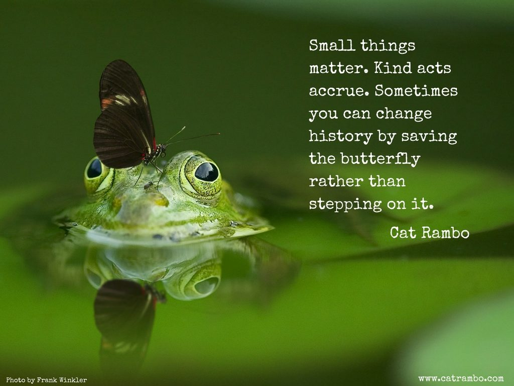 Small things matter. Kind acts accrue. Sometimes you can change history by saving the butterfly rather than stepping on it.