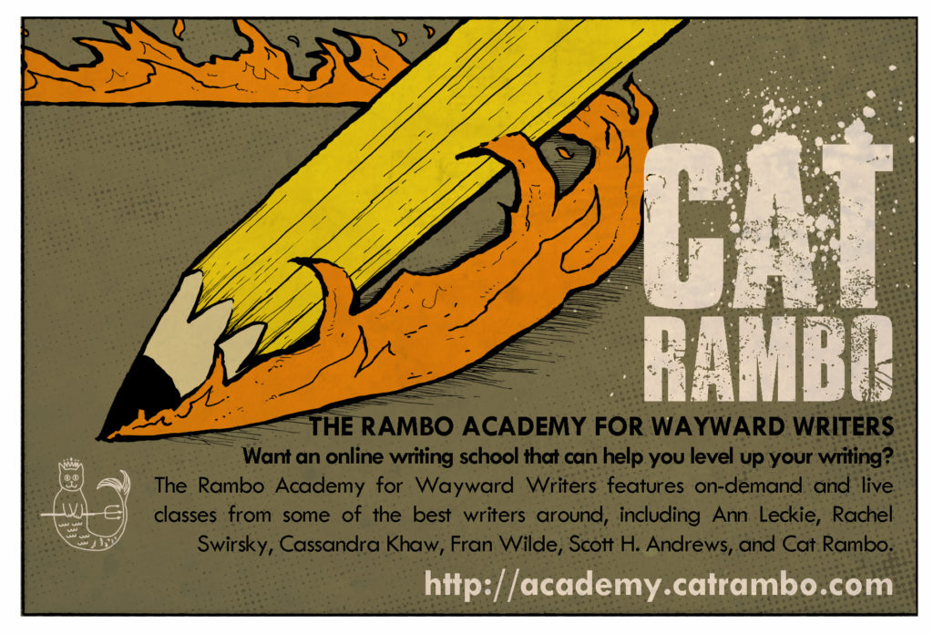 Description of Rambo Academy for Wayward Writers, which focuses on online writing classes for genre writers.