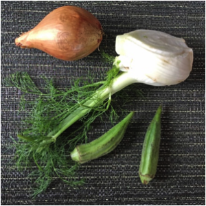Fennel, shallot, and okra
