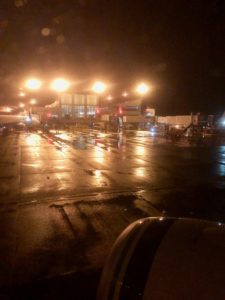 Photo of Seattle airport on a rainy night