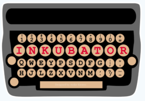 "Typewriter logo, with the letters for ""Inkubator"" in red in a single line of keys."
