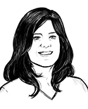 Comic-style headshot of the author from her website.